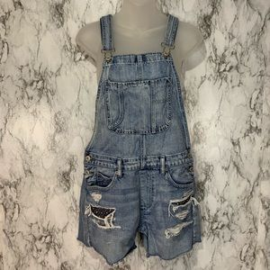 American Eagle Overalls Shorts Denim Size Small